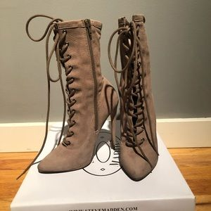 Steve Madden Lace Up Taupe Suede Stiletto Booties